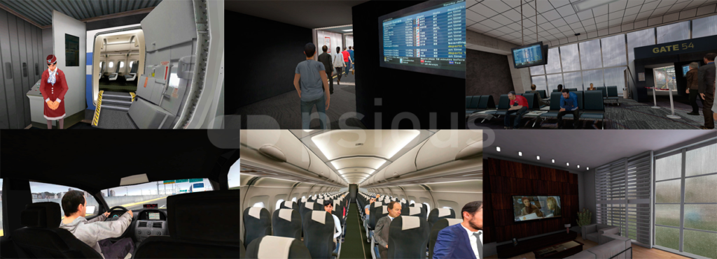 Diffrence scences that Psious virtual reality for fear of flying offers